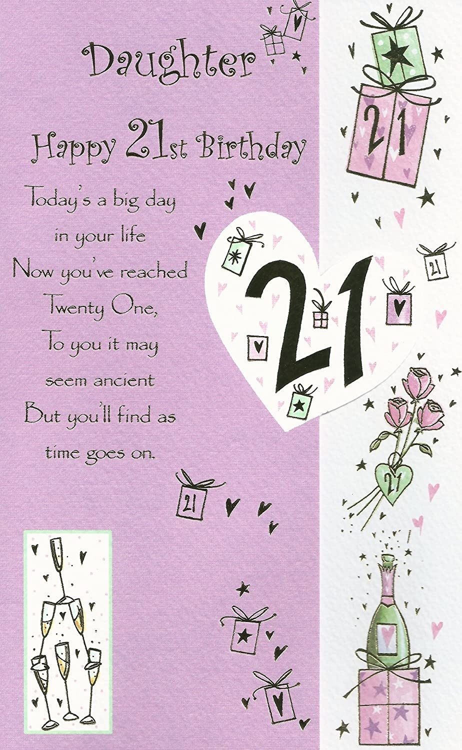 Daughter Happy 21st Birthday Card Amazon Co Uk Kitchen Home
