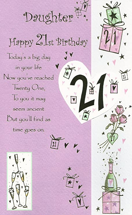 Daughter Happy 21st Birthday Card