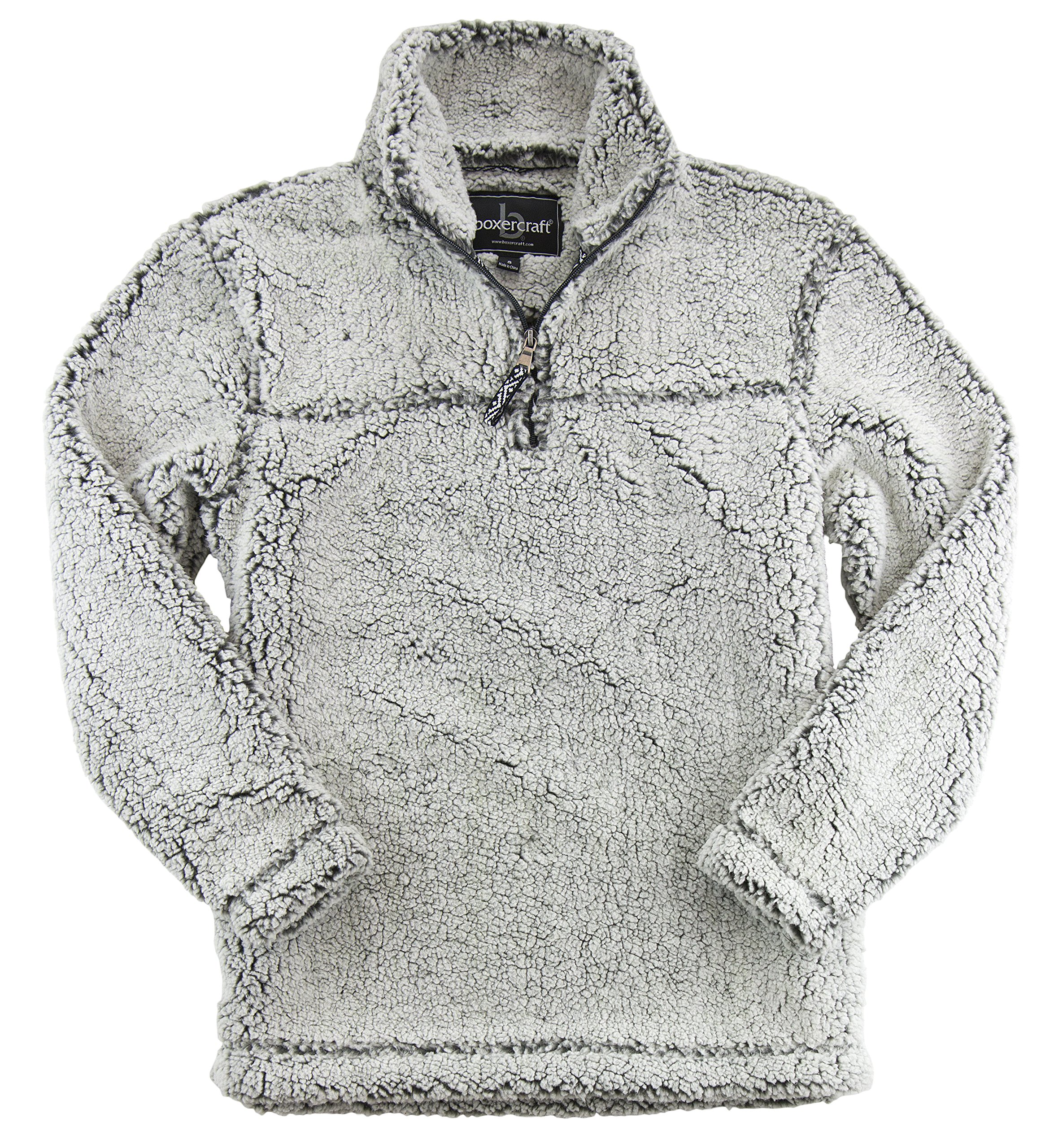 boxercraft Adult Super Soft 1/4 Zip Sherpa Pullover-Smokey Grey-Small