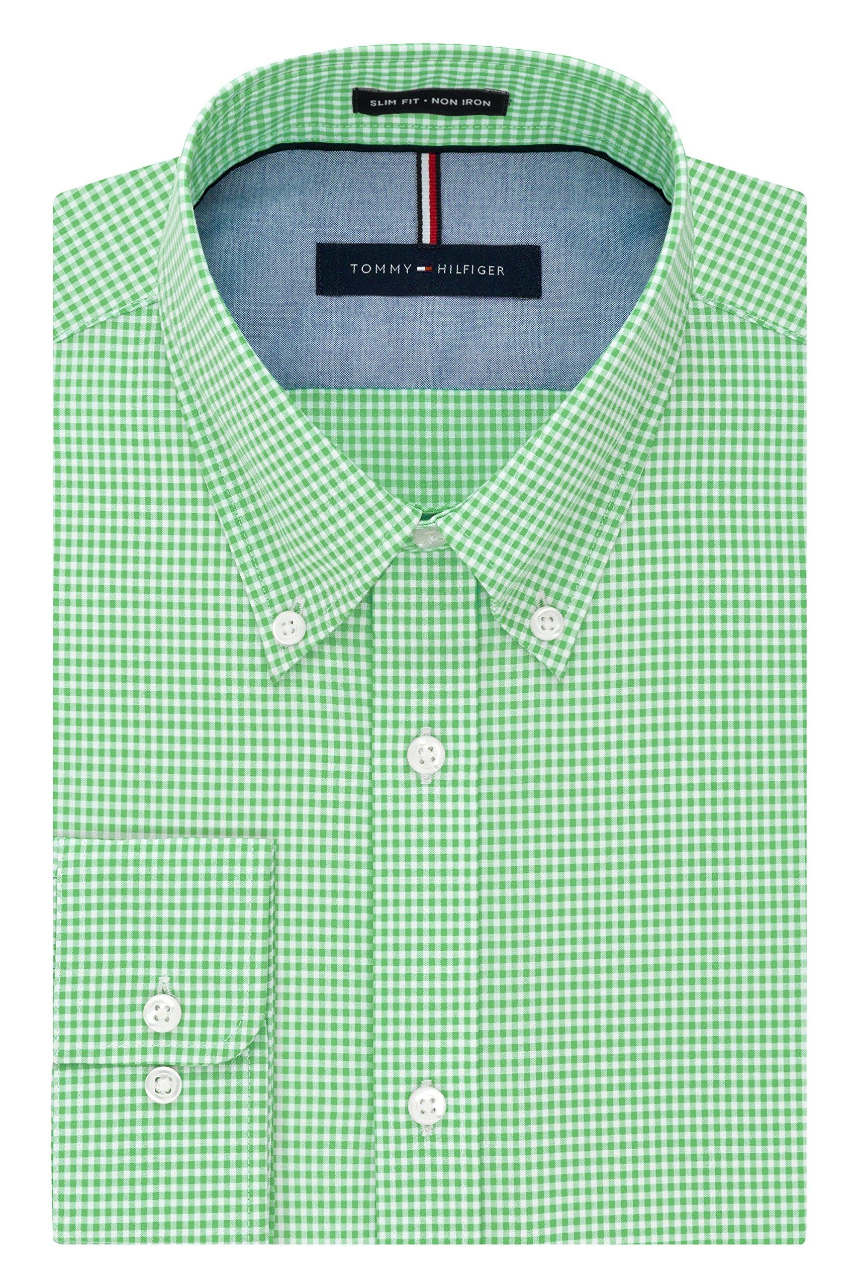 Tommy Hilfiger Men's Non Iron Slim Fit Gingham Buttondown Collar Dress Shirt, Sea Grass, 18.5'' Neck 34''-35'' Sleeve