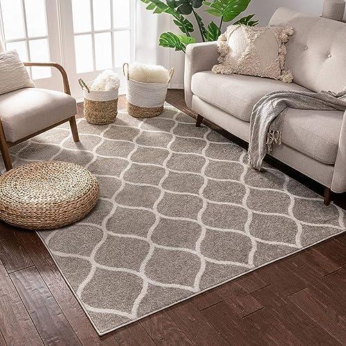 Cheap Scala Trellis Grey Modern Traditional Moroccan Lattice Area Rug 9×13 9'3″ x 12'6″ Carpet living room rug for sale