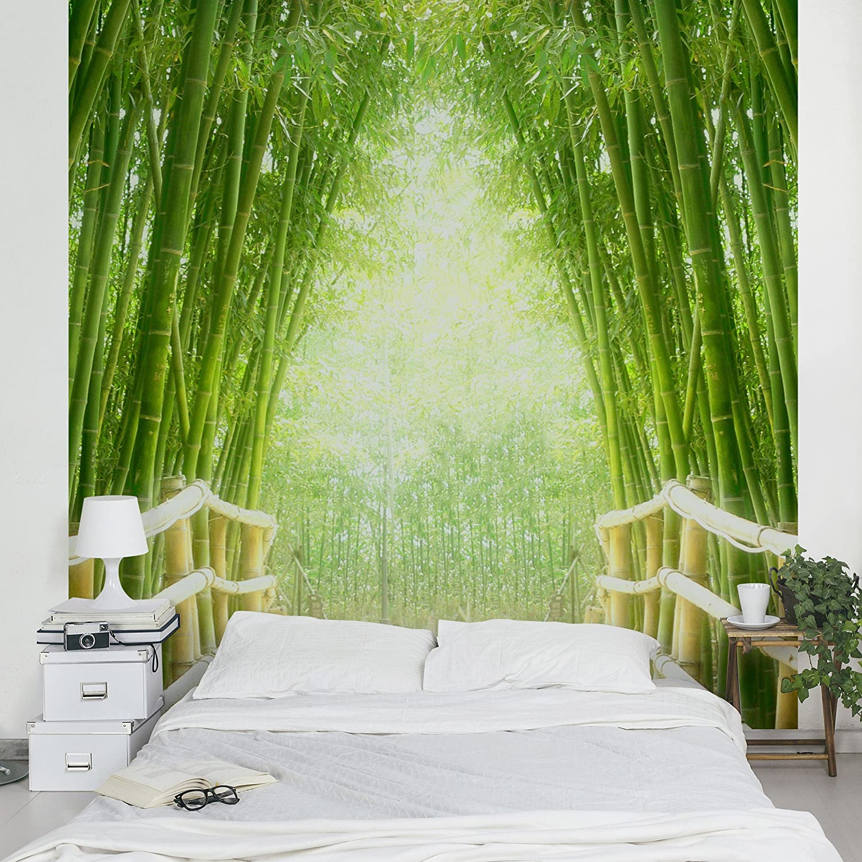 Apalis Vliestapete Bamboo Way Fototapete Bambus Quadrat   Vlies Tapete Wandtapete Wandbild Foto 3D Fototapete für Schlafzimmer Wohnzimmer Küche   Größe  192x192 cm, grün, 97502