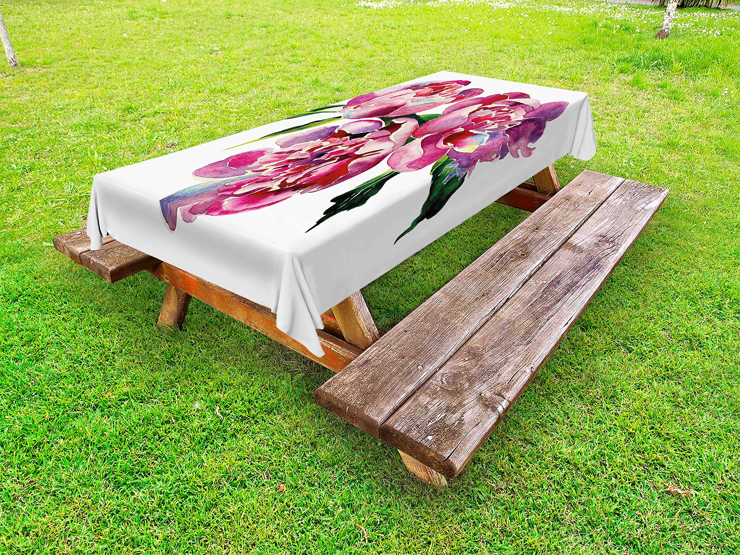 Lunarable Floral Outdoor Tablecloth, Shabby Chic Design Farm Country House Vintage Romantic Rose Watercolor Art, Decorative Washable Picnic Table Cloth, 58 X 104 inches, Pink Lilac and Green
