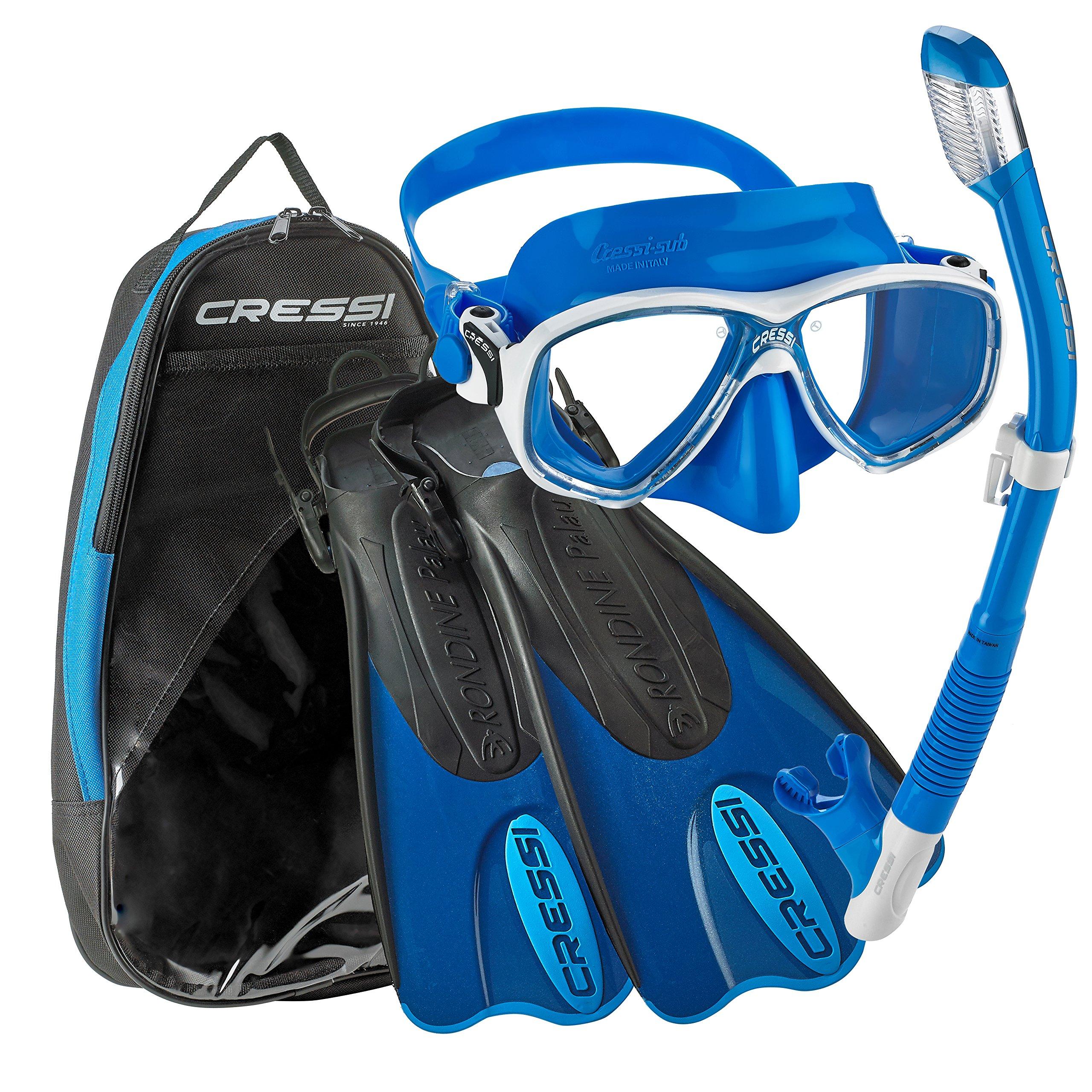 Cressi Made in Italy Palau Short Brisbane Mask Fin Snorkel Set, BL-XS