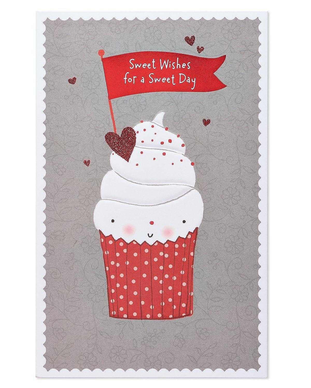 American Greetingsグリーティングカード B078CRBFLT Cupcake Valentine's Day Card