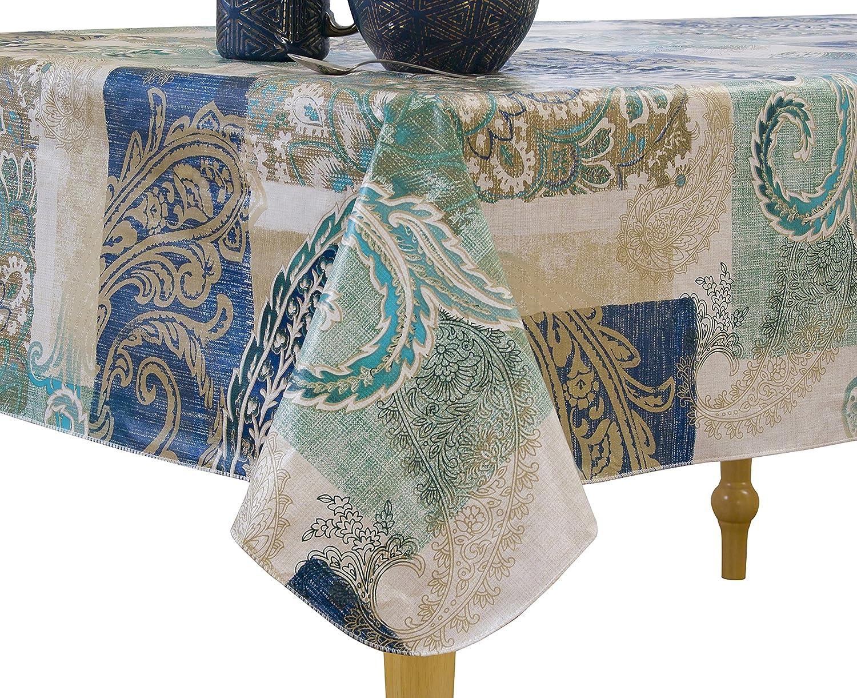 Vinyl tablecloth flannel backing assorted color /& size Elrene USA seller