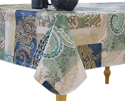 Elrene Home Fashions Vinyl Tablecloth with Polyester Flannel Backing Paisley Scroll Easy Care Spillproof, 60
