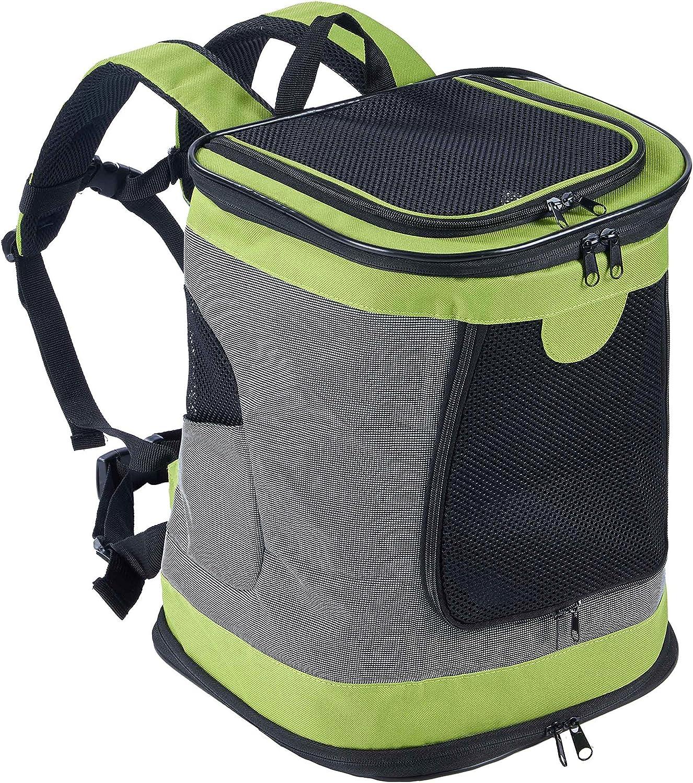 Kaka mall Mochila para Perro Gatos Conejo Transpirable Plegable Pet Backpack para Mascotas de Peso hasta 8 kg Transportín con Fondo Rígido Viaje Aero Tren Trekking Bici Moto Verde