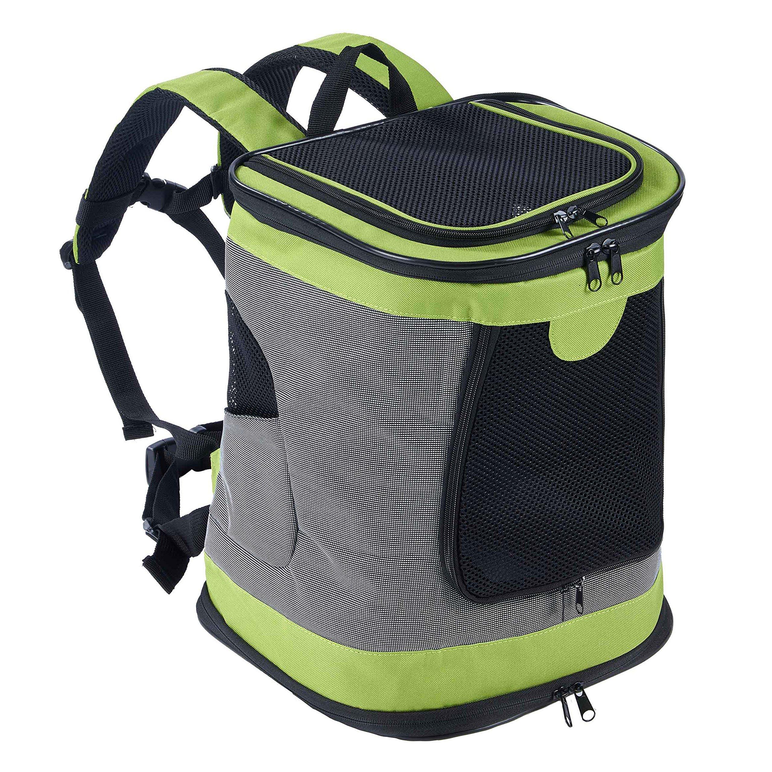 Pettom Pet Backpack Soft Sided Carrier Cat Dog Shoulder Bag Backpack for Pets Outdoor Travel (Green)