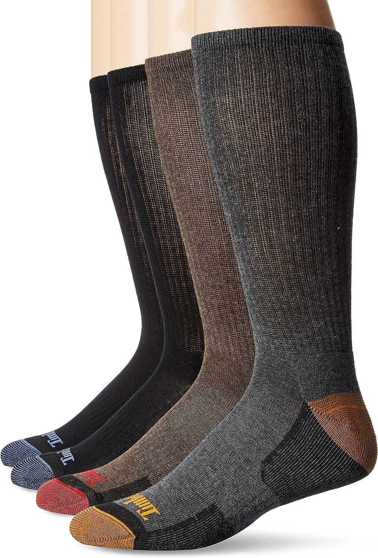 Timberland Comfort 4-Pack Crew Socks Black/Black/Brown/Grey LG (US Men's 9-12) at  Men's Clothing store