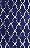 Superior Hand Woven and Soft Shag Rug Trellis Collection, Navy Blue/White, 8 ft by 10 ft (8' x 10')