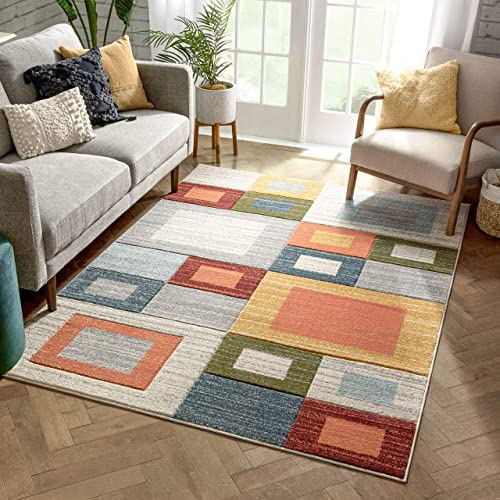 Well Woven Tannen Multi Modern Geometric Boxes Beveled Pattern Area Rug 8×10 7'10″ x 9'10″