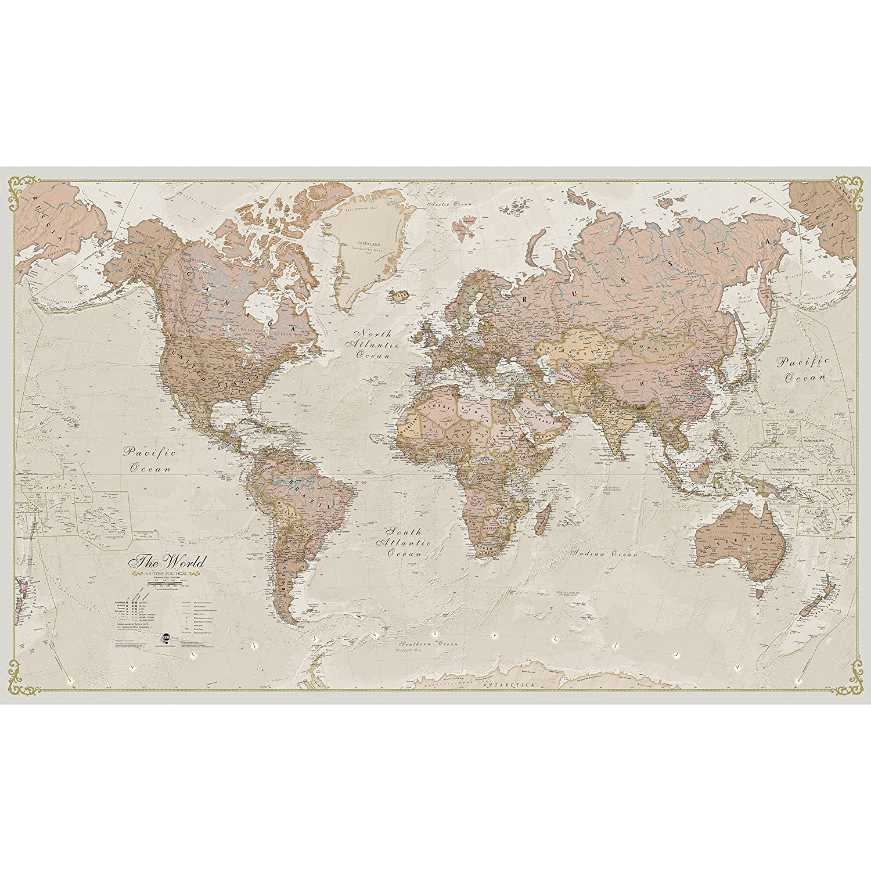 Giant World Map Amazon.com: Maps International Giant World Map   Antique World Map