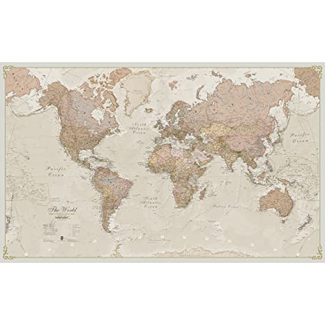 Giant World Map - Antique World Map Poster - Laminated - 197 x 116 ...