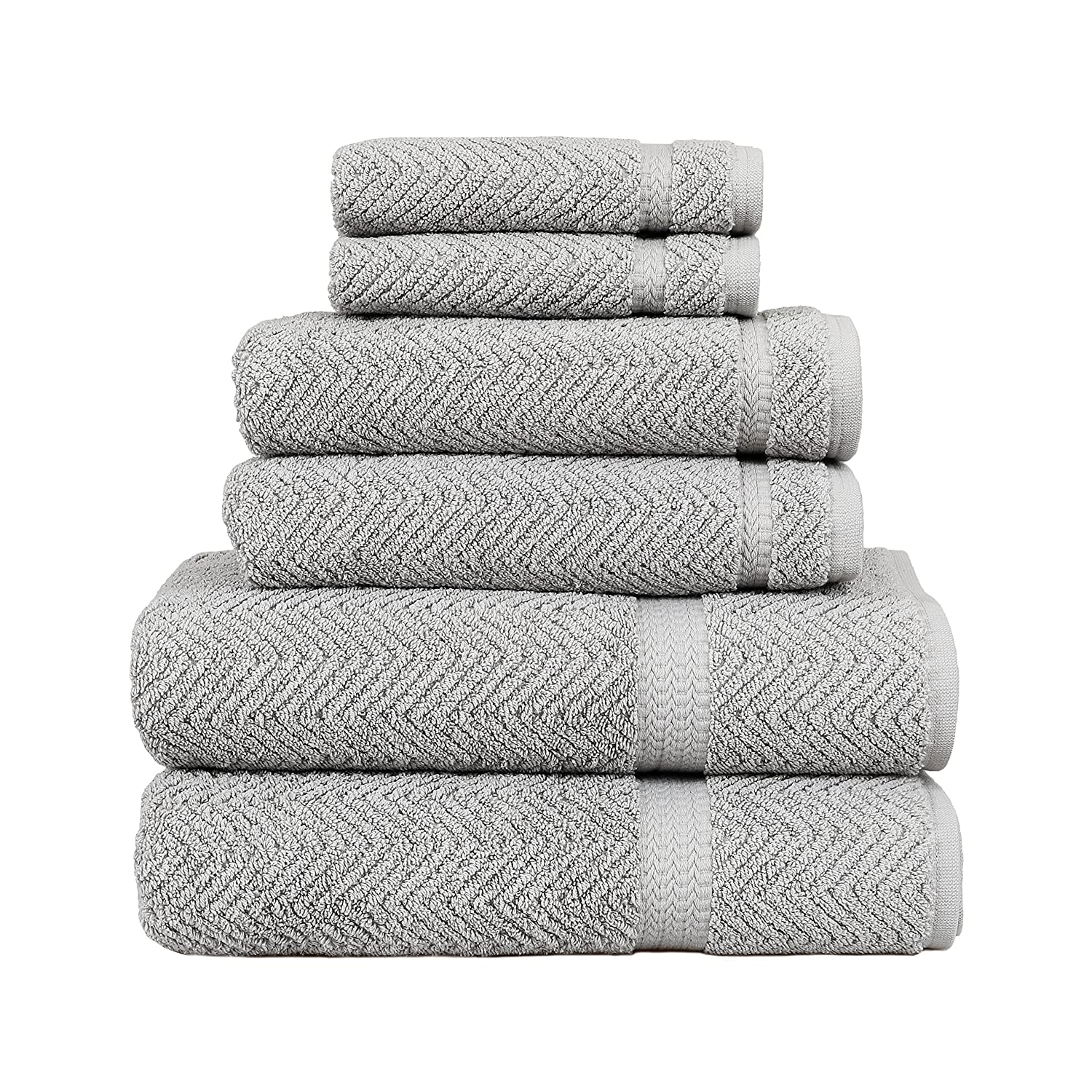 Linum Home Textiles Herringbone 100% Turkish Cotton 6 Piece Towel Set HB93-6C