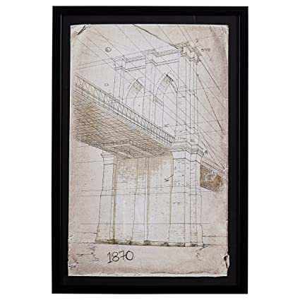 Amazon.com: Modern Print of Brooklyn Bridge Sketch, Black Frame, 26 ...
