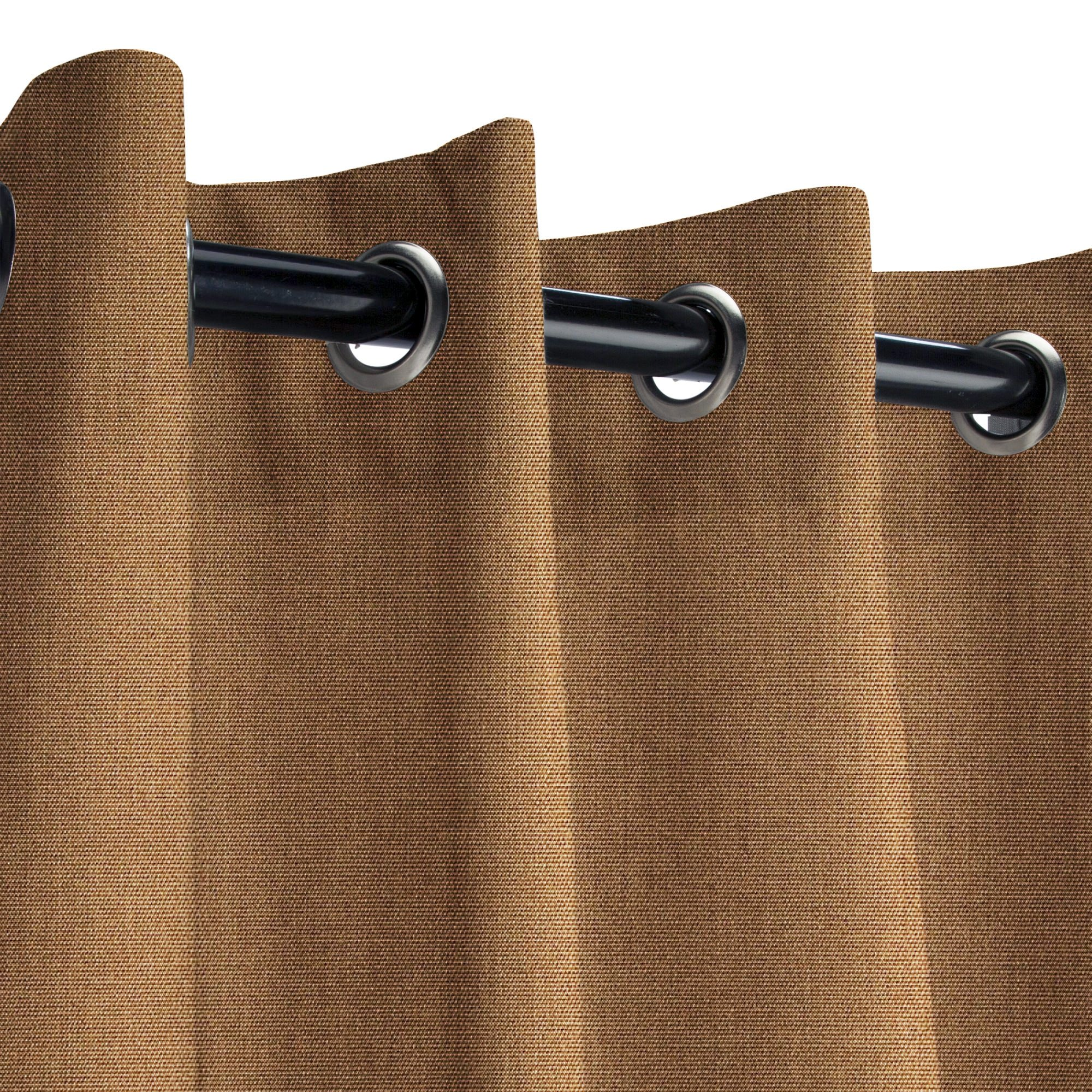 Sunbrella Canvas Chestnut Outdoor Curtain with Nickel Grommets 50 in. Wide x 120 in. Long