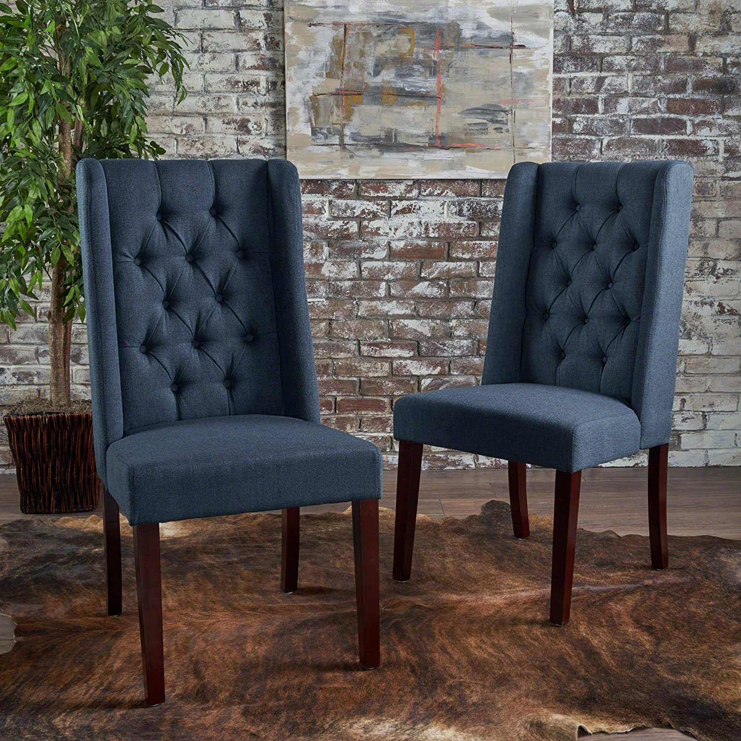 Billings Tufted Navy Blue Fabric Dining Chairs (Set of 2)