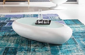 vidaXL Couchtisch Ovale Glasplatte Hochglanz-Grau Beistelltisch Wohnzimmer