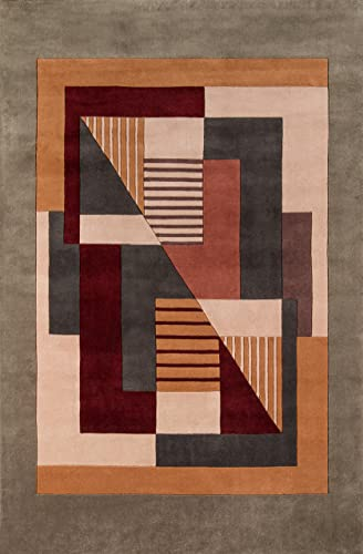 Momeni Rugs New Wave Collection, 100 Wool Hand Carved Tufted Contemporary Area Rug, 3 6 x 5 6 , Multicolor