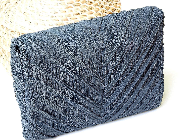 Monedero mujer gris de tela reciclada hecho a mano: Amazon ...