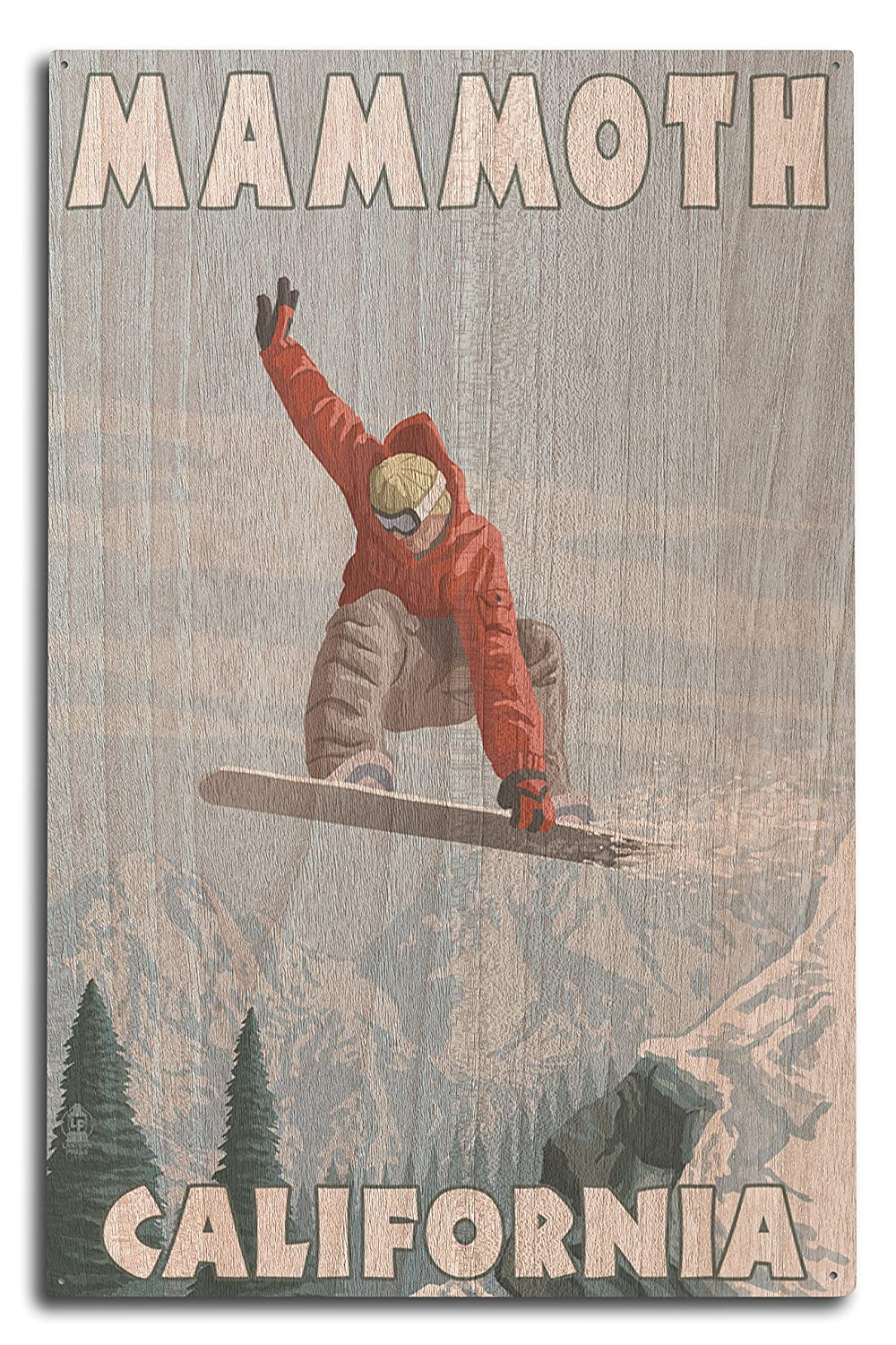 Mammoth、カリフォルニア – Snowboarder Jumping 10 x 15 Wood Sign LANT-47877-10x15W B07364GNNK  10 x 15 Wood Sign