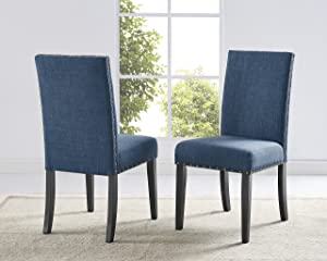 Roundhill Furniture Biony Blue Fabric Dining Chairs with Nailhead Trim, Set of 2