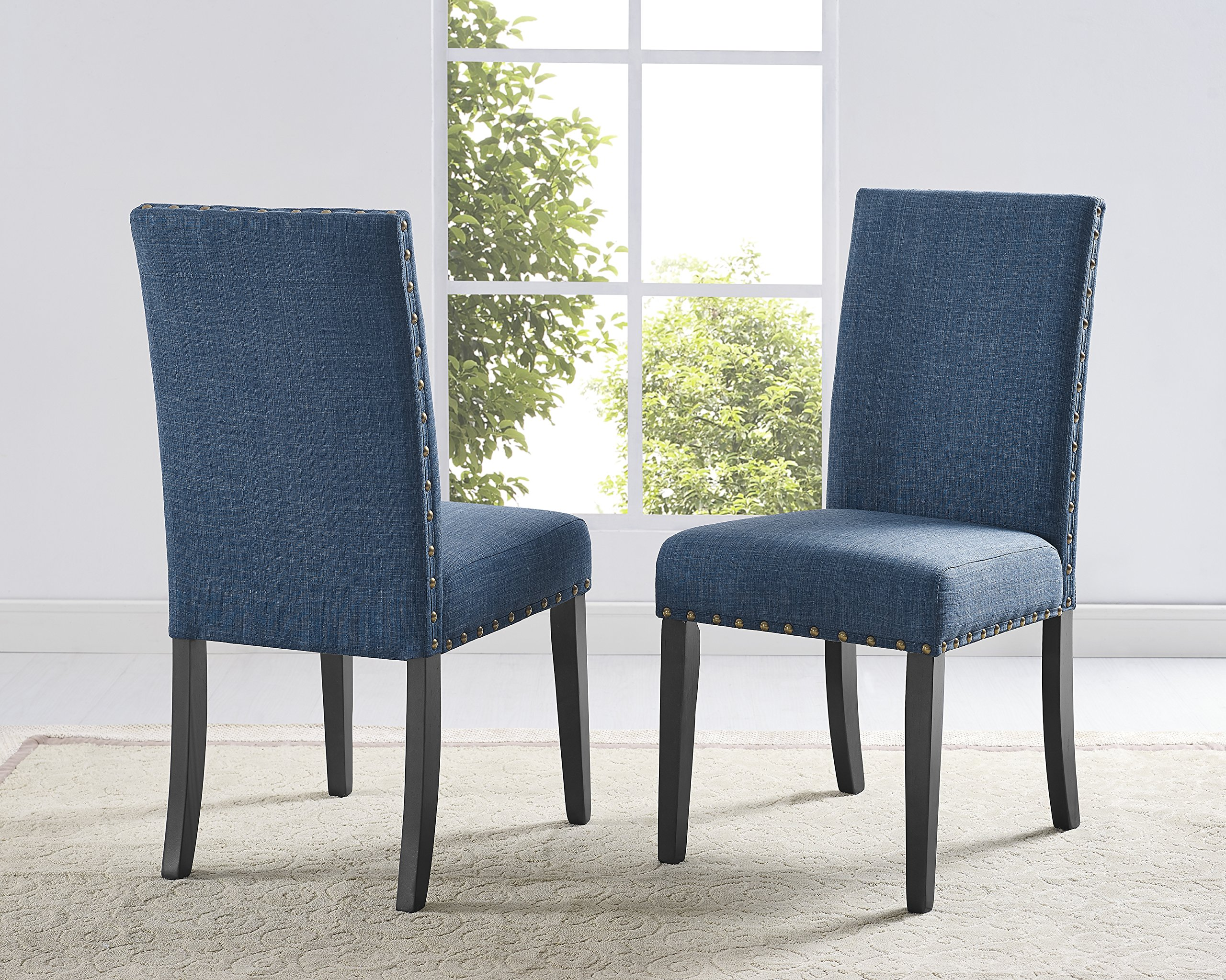 Roundhill Furniture Biony Blue Fabric Dining Chairs with Nailhead Trim, Set of 2 - Set of 2 enticing nail-head trim dining chair, blue-colored linen and cotton fabric upholstery on the Seat and chair Back Sturdy hardwood frame with solid legs, dark Espresso Finish Some assembly required, all parts and instructions included - kitchen-dining-room-furniture, kitchen-dining-room, kitchen-dining-room-chairs - A1WAkug7KvL -