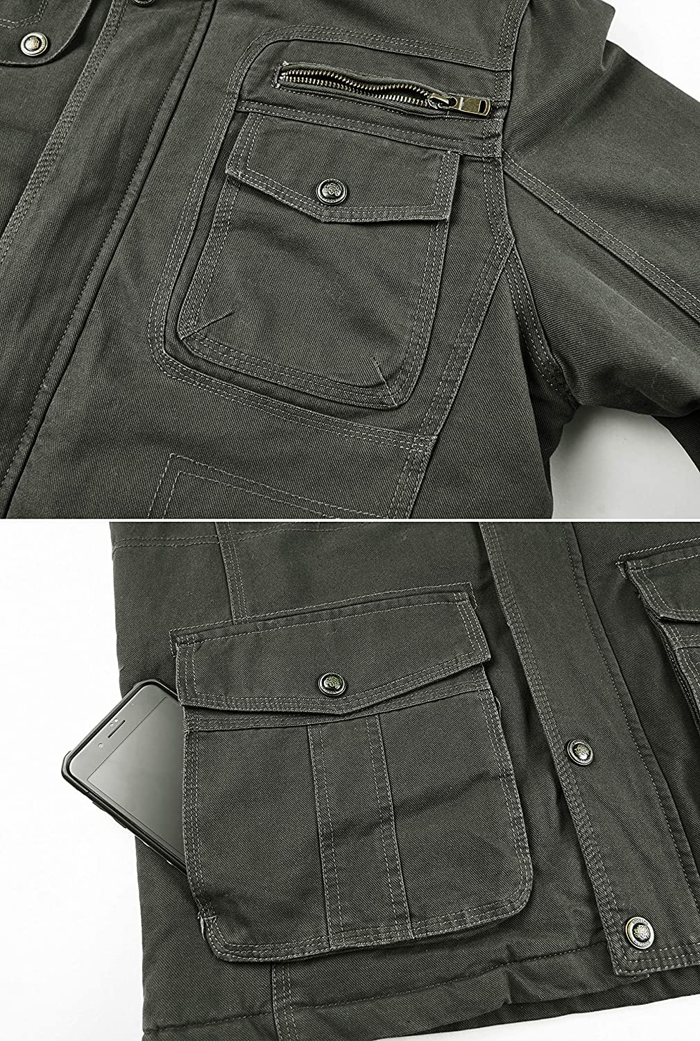 Heihuohua Men/'s Winter Military Jacket Thicken Cotton Coat with Removable Hood