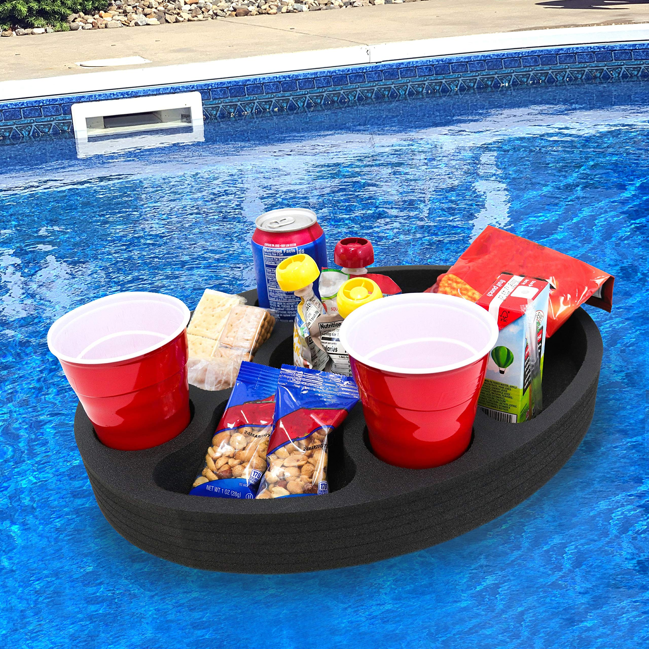 Polar Whale Floating Mini Bar Drink Holder Refreshment Table Tray for Pool or Beach Party Float Lounge Durable Foam 17 Inches Large 7 Compartments UV Resistant Made in USA by Polar Whale
