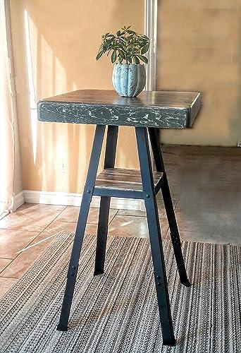 BAR HEIGHT Table Industrial Reclaimed Wood W/ Lower Shelf