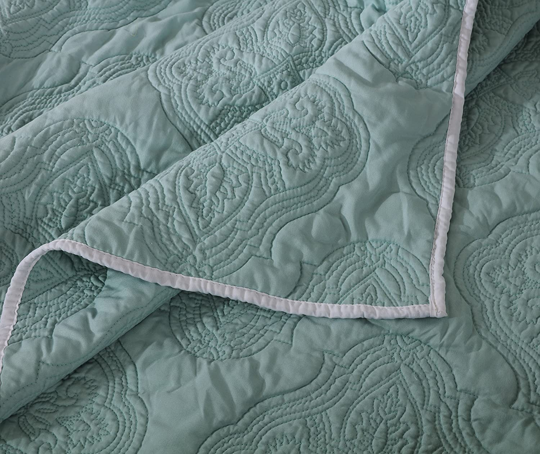 Barefoot Bungalow Cameo Aqua Haze Quilt Set 3-Piece King Greenland Home Fashions GL-1612FMSK