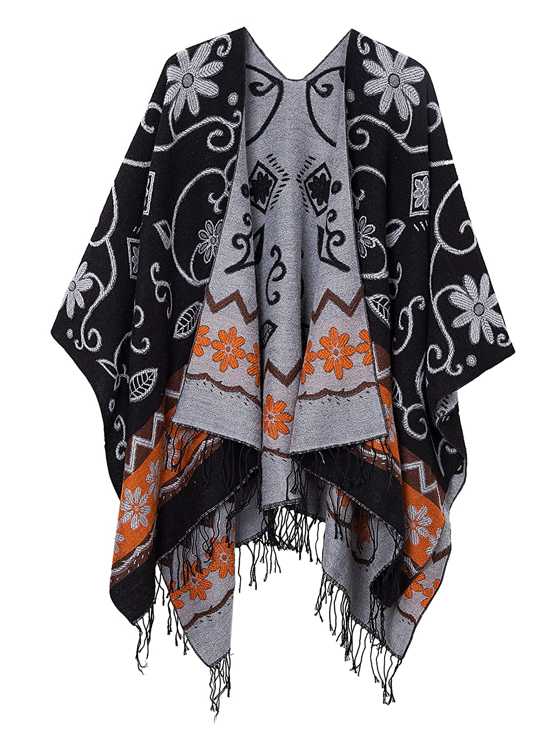 Urban CoCo Women's Soft Vintage Poncho Cape Shawl with Tassel (Series 3-gray) Bingo E-Commerce BGRS1401GY