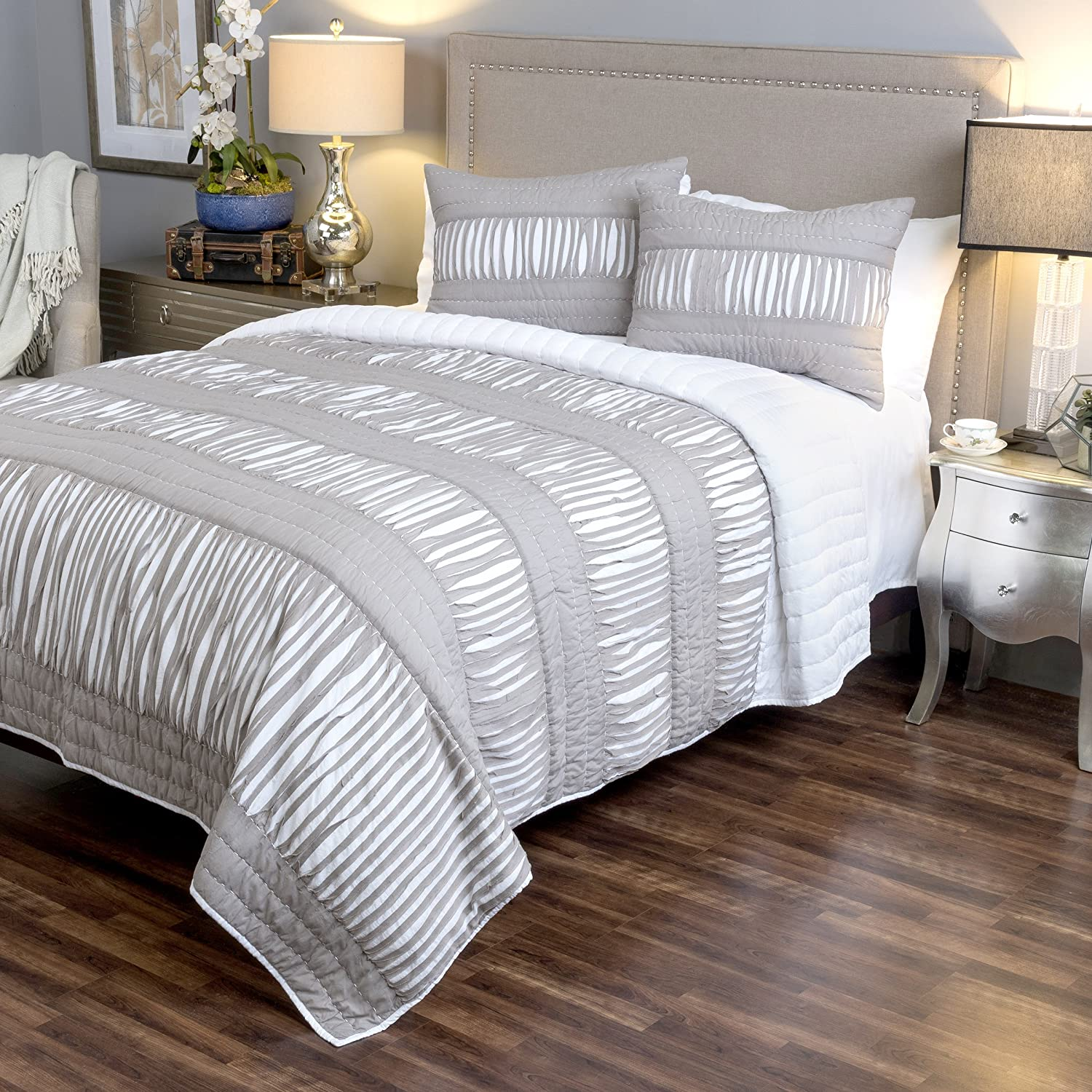 Arden Loft Manhatten Mambo Shredded Chic-Gray 3 Piece King Quilt Set Rizzy Home OVSBT3163GYWH9214