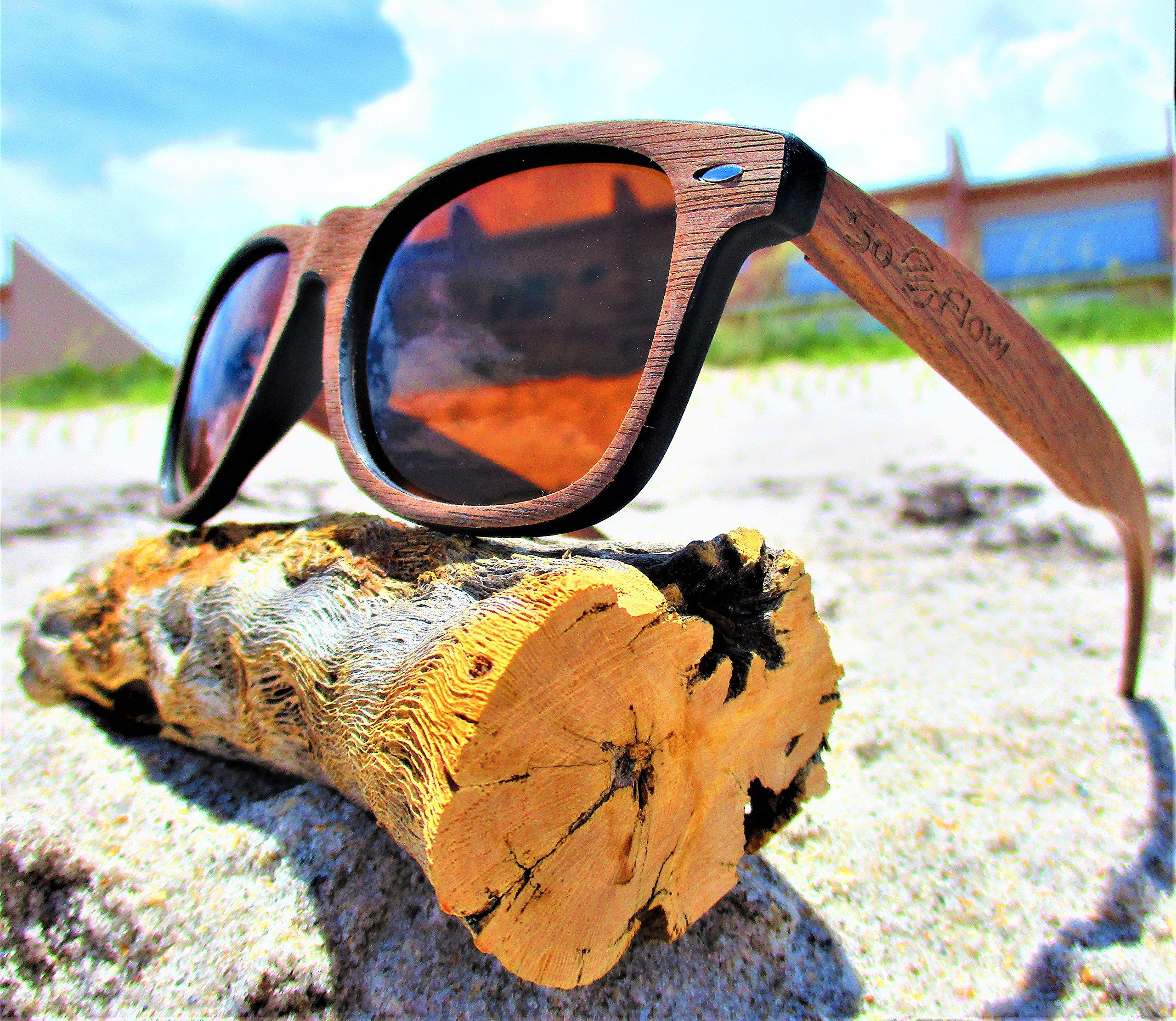 Polarized Brown Walnut Wood Sunglasses - Wooden - Wayfarer - Men - Women - UV400 by SoFlow Sunglasses (Image #4)