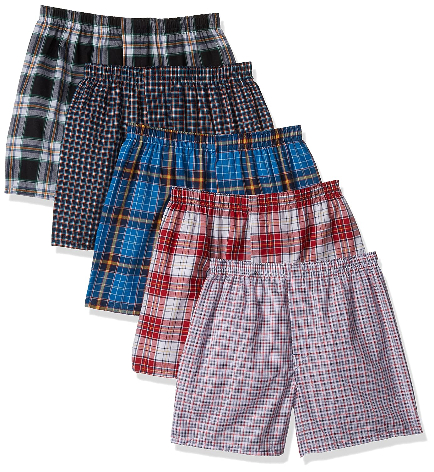 Hanes Men's 5-Pack Tartan Boxer with Inside Exposed Waistband 838BX5