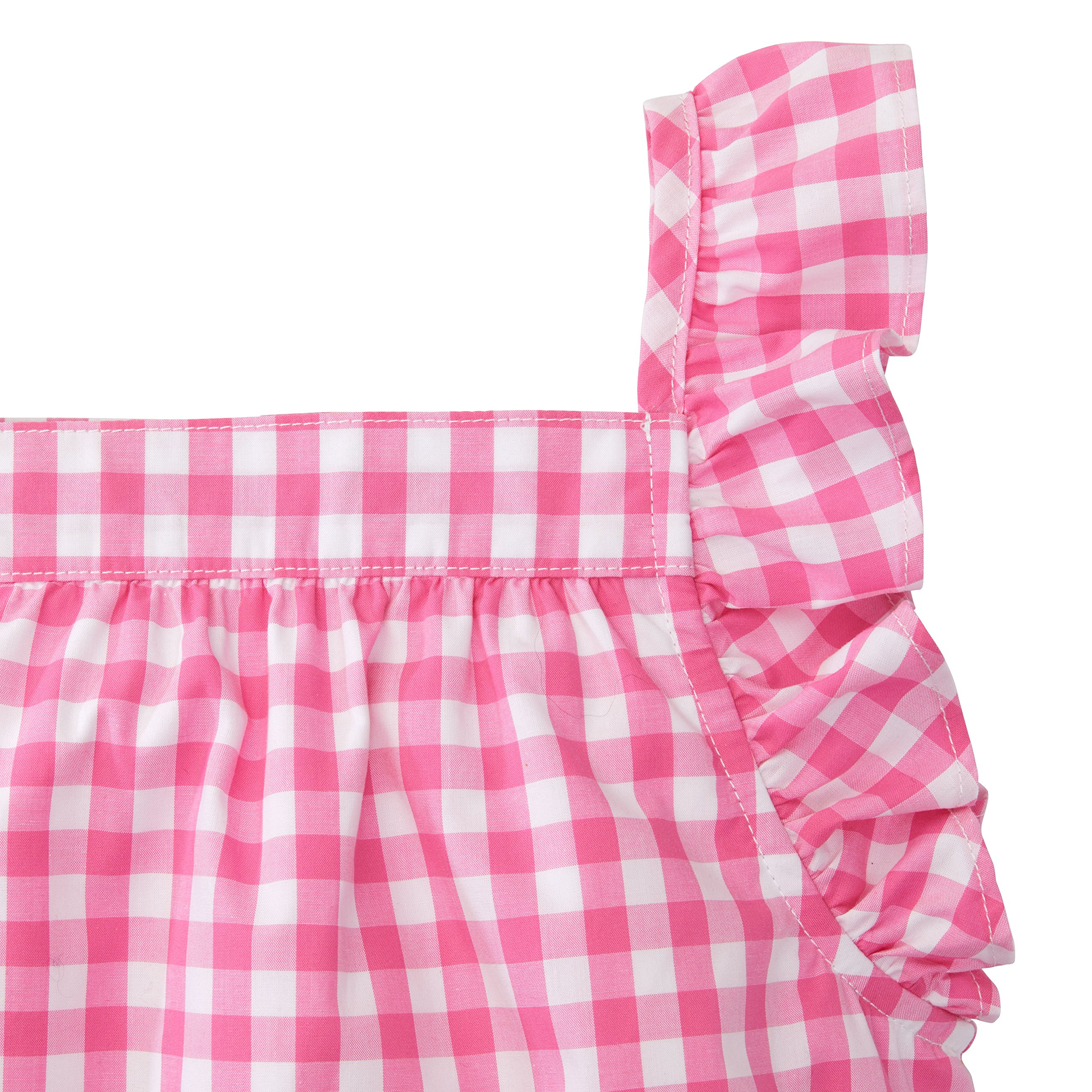 Hope & Henry Girls' Pink Gingham Frill Sleeve Woven Dress Made with Organic Cotton by Hope & Henry (Image #3)
