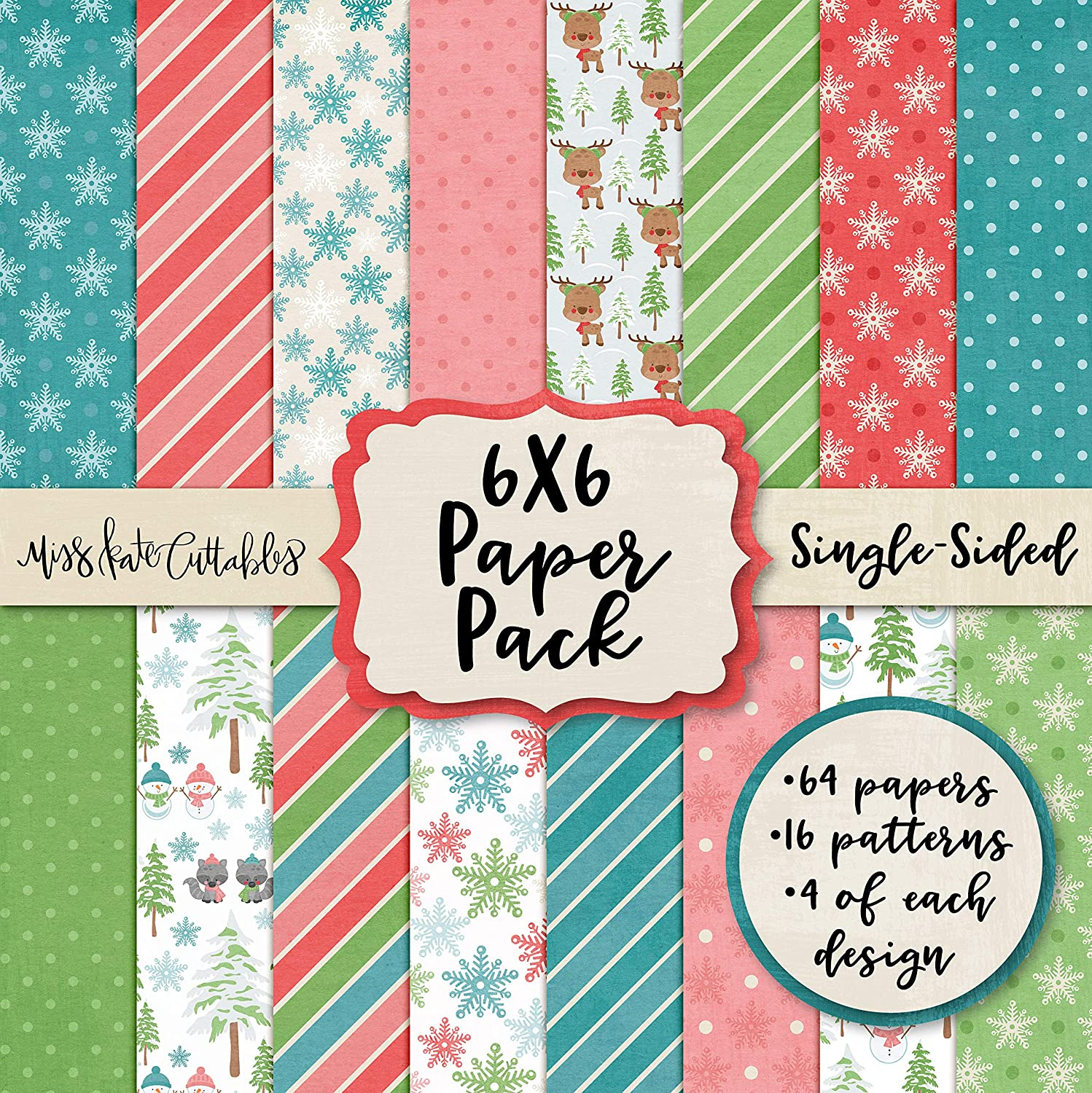 6X6 Pattern Paper Pack by Miss Kate Cuttables Card Making Scrapbook Specialty Paper Single-Sided 6x6 Collection Includes 64 Sheets Tis The Season