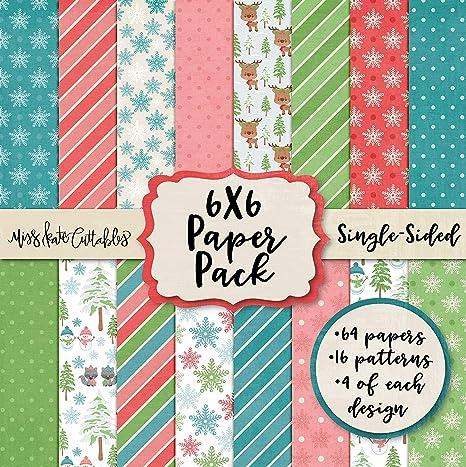 Miss Kate - Paquete de papel de 6 x 6 patrones – Invierno Woodland – Navidad – tarjeta de felicitación