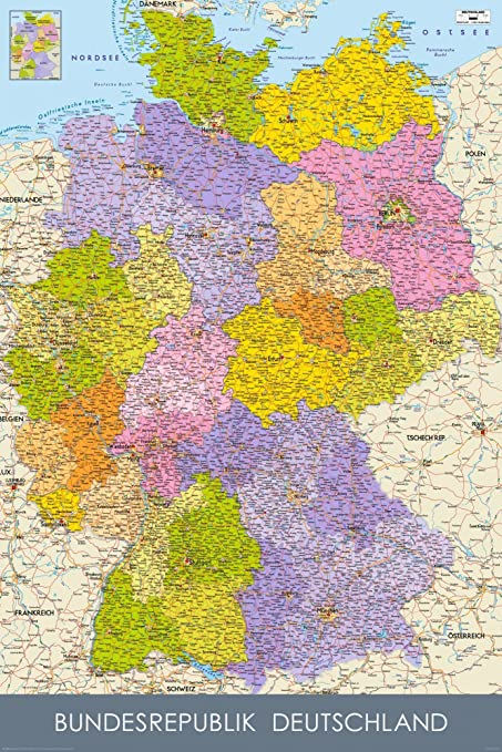 Map Of Germany In German Language Huge Laminated Poster: Amazon.co ...