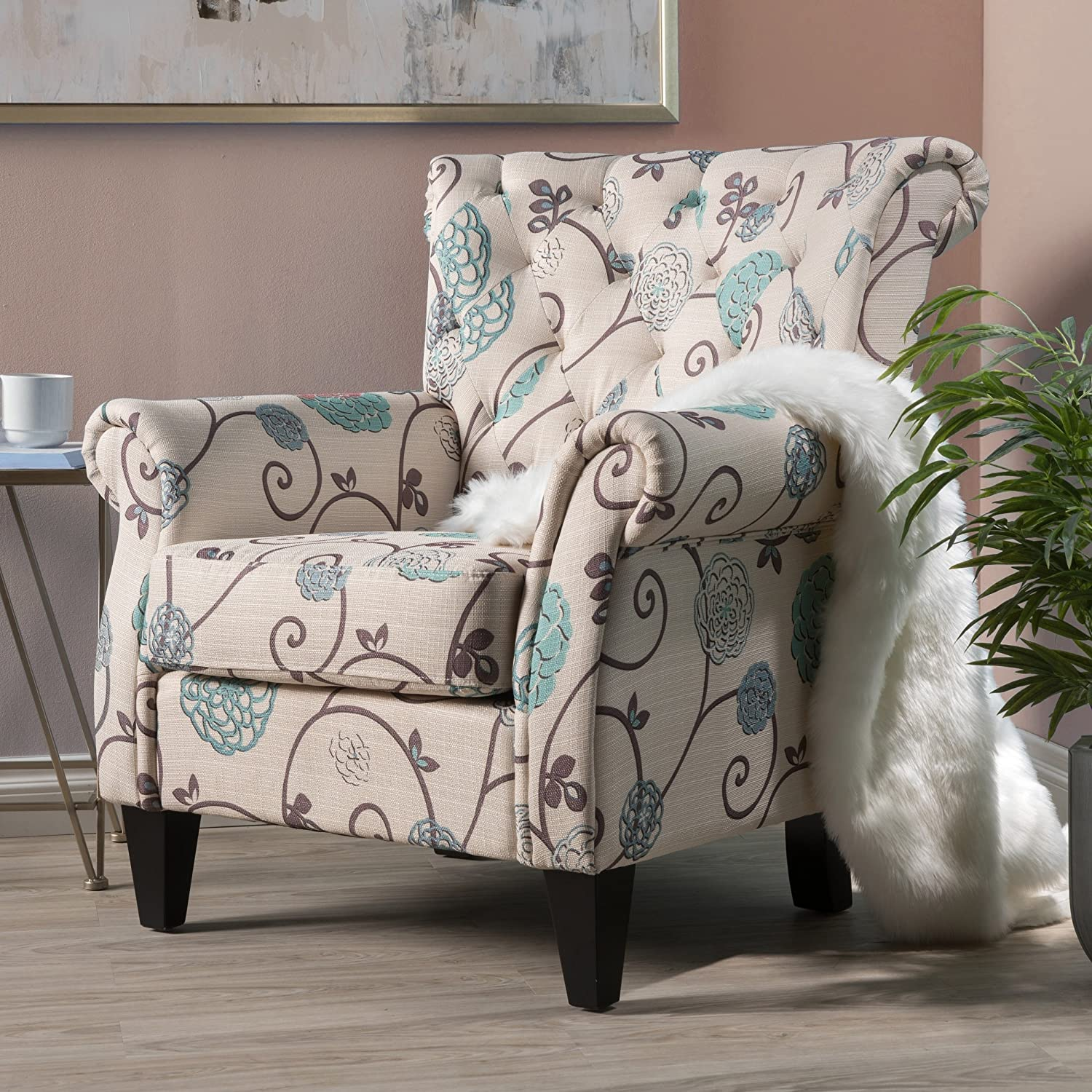 Accent Chairs.Accent Chairs With Arms For Living Room Bedroom Tufted Club Chair Deco Teal Floral Upholstery