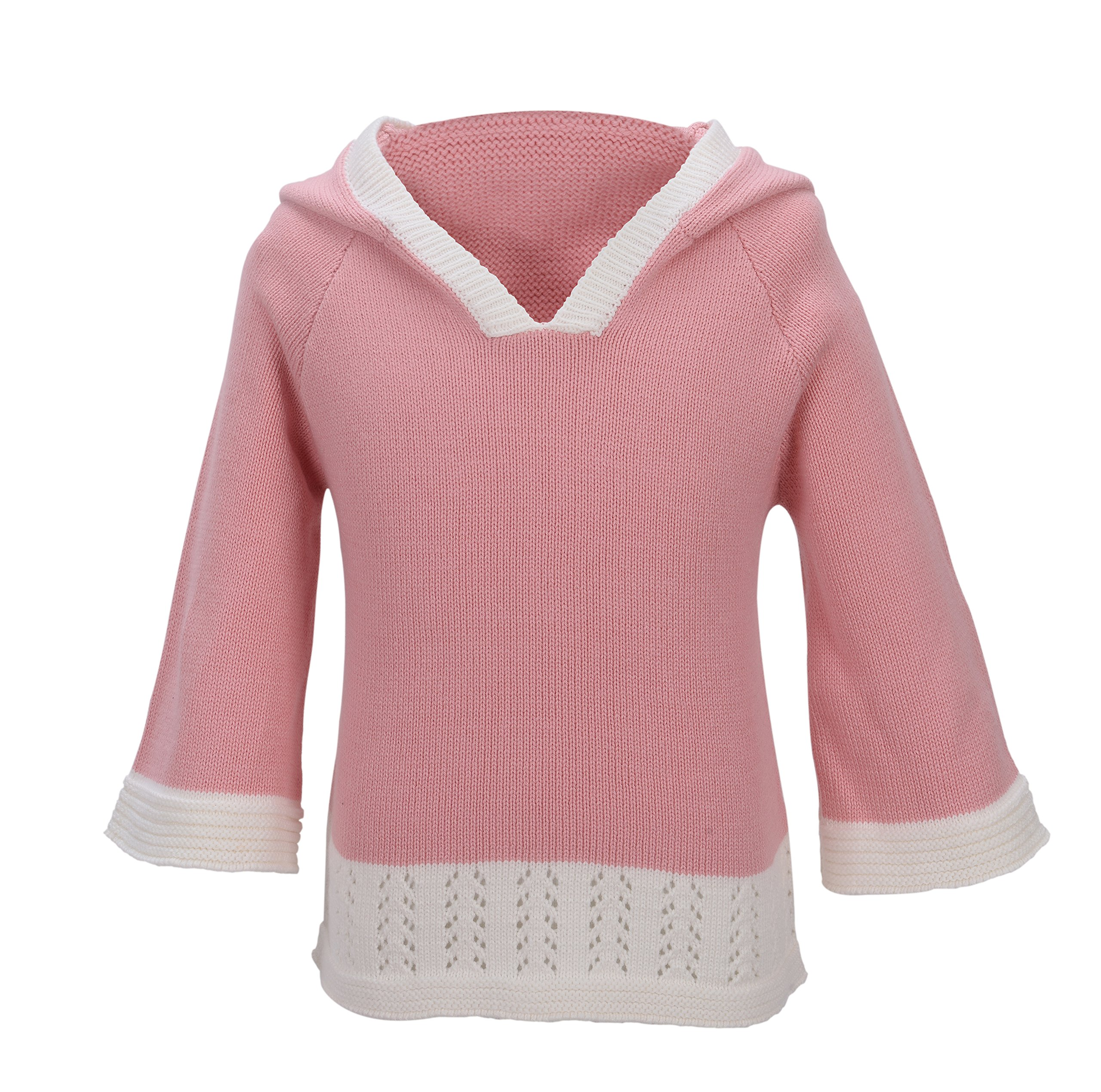 PuTian Kids- Baby Girl Long Bell Sleeve Sweater with a Hood-Pink-[6-7Years]
