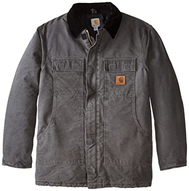 Carhartt Mens Big & Tall Arctic-Quilt Lined Sandstone Duck Traditional Coat C26,Gravel,3X-Large Tall
