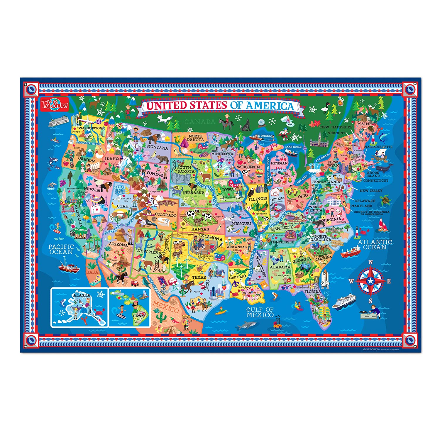 Interactive Map Of The Usa.Ts Shure Pictorial Map Of The United States Of America Laminated Poster With Interactive Stickers