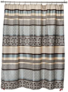 Madison Park Princeton Geometric Jacquard Fabric Shower Curtain, Transitional Shower Curtains for Bathroom, 72 X 72, Blue