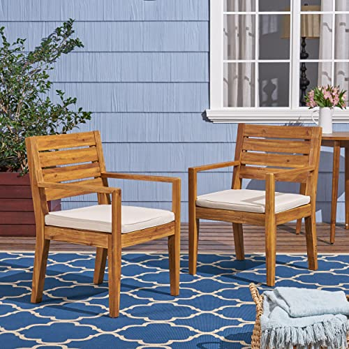 Great Deal Furniture Arely Outdoor Acacia Wood Dining Chairs, Sandblast Natural and Cream Set of 2