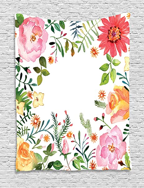 Ambesonne Flower Decor Tapestry Shabby Chic Romantic Spring Colored Flowers Natural Buds And Leaves Art Print Wall Hanging For Bedroom Living Room