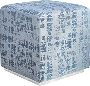Tov Furniture Kent Collection Velvet and Brass Ottoman, Blue Textured