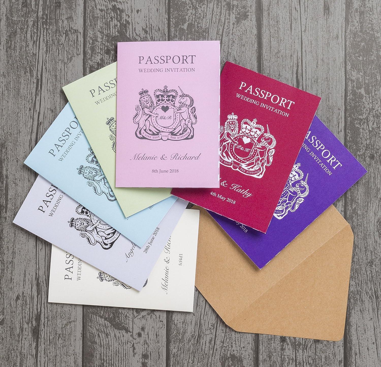 Personalizado destino diseño de pasaporte invitaciones de boda con sobres (Pack de 20): Amazon.es: Hogar