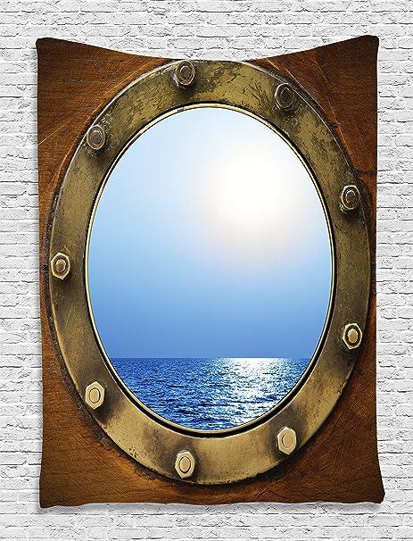 decor ship porthole decorative home nautical com dp amazon quot window silver decoration